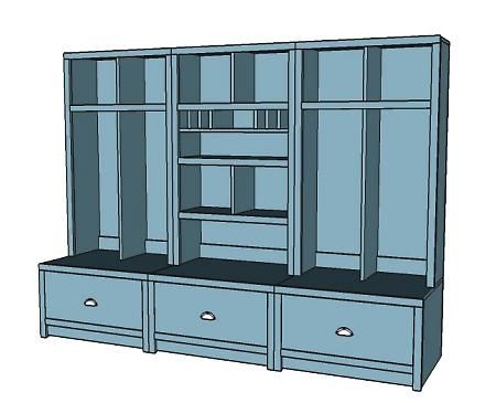 Plans for a mudroom locker system you know if i could for Mudroom cubby plans