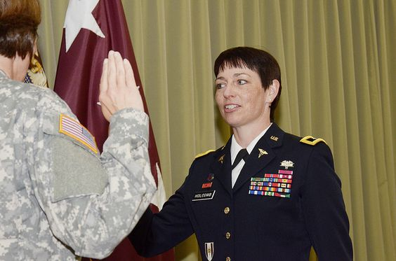 Col.(P)  Barbara Holcomb was recently promoted to Brigadier General  June 6 at Joint Base San Antonio- Fort Sam Houston. Brig. Gen. Holcomb will now serve as the U.S. Army Forces Command Surgeon. Holcomb most recently served as the commander of Landstuhl Regional Medical Center.  This is the first time in Army Medicine history that there have been Army Nurse Corps general officers at the three-star, two-star, and one-star grades simultaneously. (Photo by Fran Trachta):