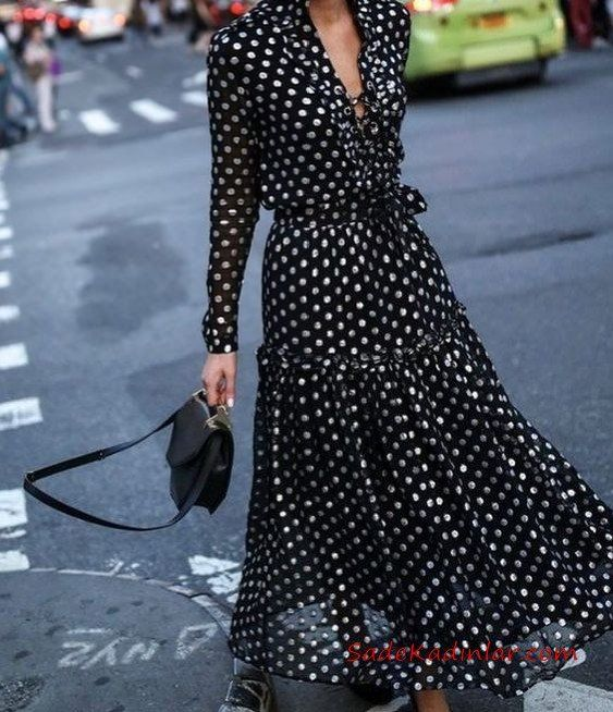 2020 Puantiyeli Elbise Modelleri Siyah Uzun V Yakali Dugme Detayli Uzun Kol Klos Etek Puantiyeli Elbise Elbise Modelleri Elbise
