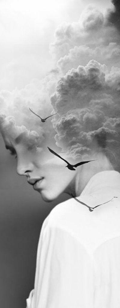 portrait, noir et blanc, photographie, double exposition, ciel, nuages ...