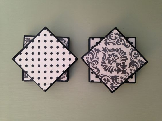 black and white coasters/set of 6/chalkboard tiles/damask decor/ tile coasters/coasters/handmade/home decor/housewarming/door prize by ThePrettyDecorStore on Etsy