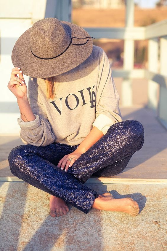 Text & Sequins and a hat