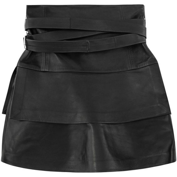 IRO Marika Black // Leather mini skirt ($1,050) ❤ liked on ...