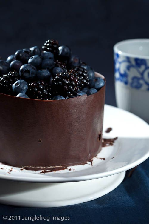 Chocolate Cake with Blue & Black Berries - I want to try a chocolate wrap on a mini cake!