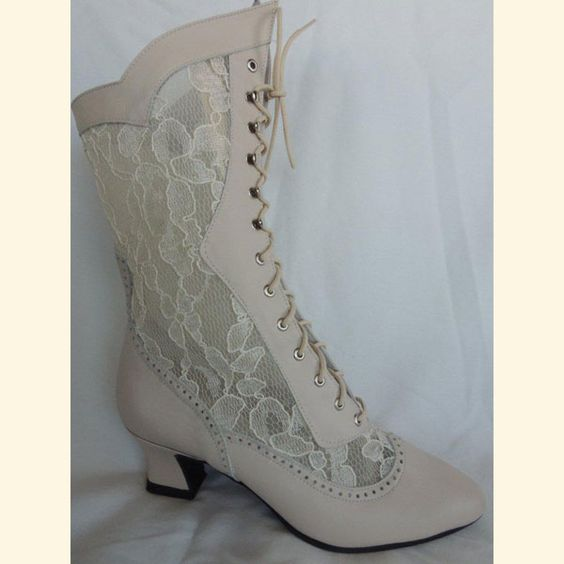 Sat'n Spurs - Ivory Leather/Lace Victorian Boot