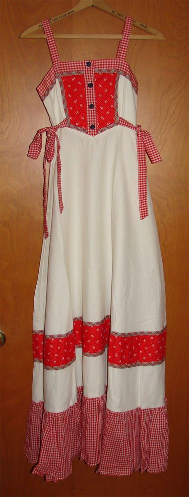 Vintage 1970's Gunne Sax by Jessica San Francisco Red White Gingham Maxi Dress | eBay