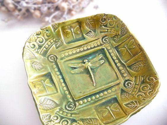 Ceramic Dragonfly Serving Plate Bowl  w feet by IslandGirlPottery, $25.00