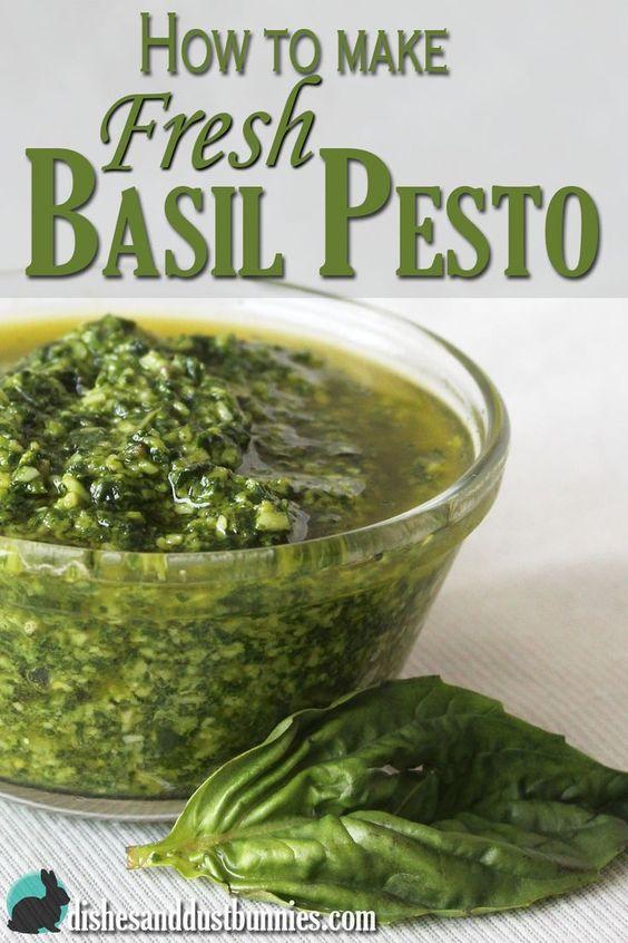 How to make Fresh Basil Pesto from dishesanddustbunnies.com