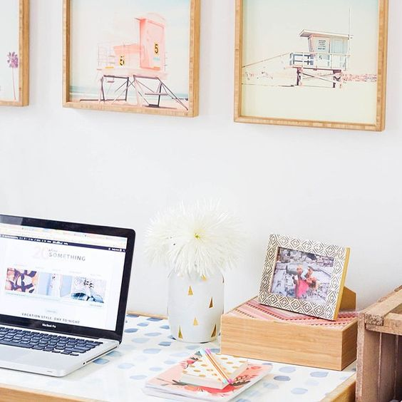 Check out my little home office makeover today on the blog featuring this desk and pretty prints from @denydesigns! #hometour #homedecor #homeoffice