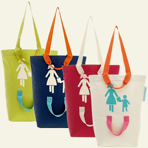 Dual-Handled Parent/Child Shopping Tote: Interesting