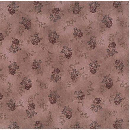 Coupon-de-Tissu-patchwork-stof-petites-roses-lie-de-vin-45x55cm