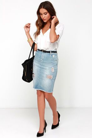 Dittos Kathleen Skirt - Pencil Skirt - Distressed Skirt - Light Wash Denim Skirt - $69.00