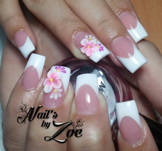 Pink and white and 3d flowers
