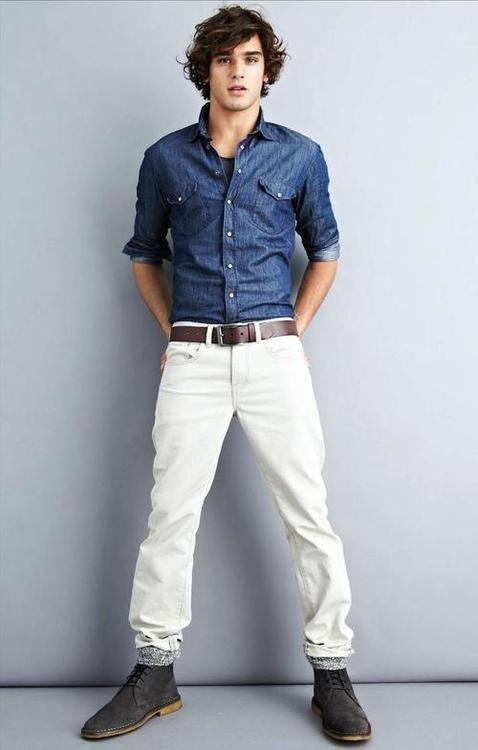 denim   white pants // men&39s fashion  NOTES!!!!  Pinterest