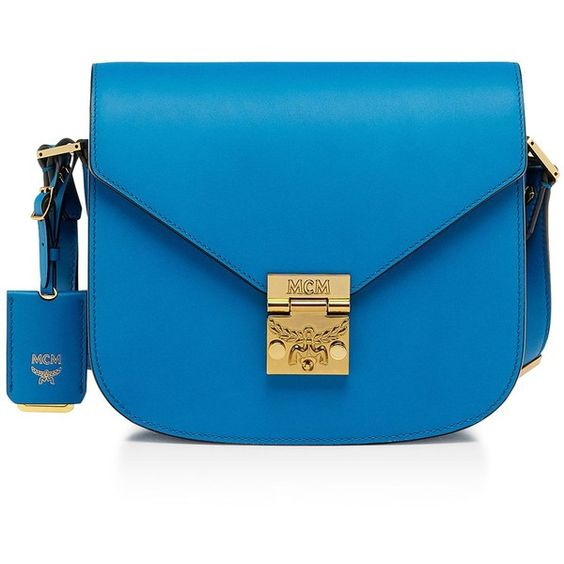 Mcm Patricia Shoulder Bag ($870) ❤ liked on Polyvore featuring bags, handbags, shoulder bags, munich blu, blue purse, shoulder bag purse, shoulder saddle bag, saddle bags and blue handbags