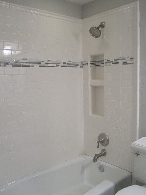Photobucket Tub Shower Enclosure With Accent Band White