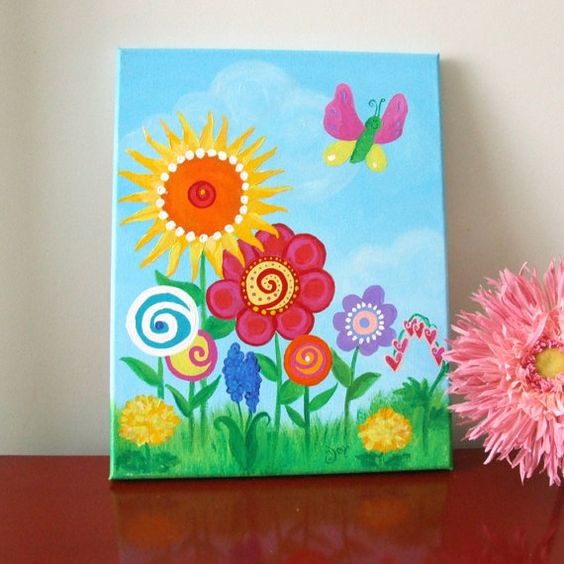 Girls room wall art butterfly garden 11x14 canvas for Canvas painting for kids room