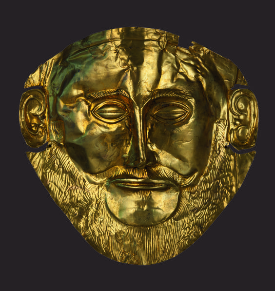 """Gold funeral mask known as the """"Mask of Agamemnon"""" 16th c. B.C."""