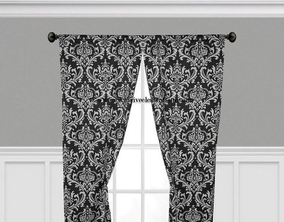 Damask Curtain Panels Black and White Damask by exclusiveelements, $55.00