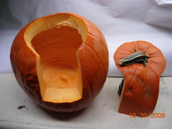 A better way to slice a pumpkin. Easier to scoop out seeds and you won't burn yourself trying to get a light in there!