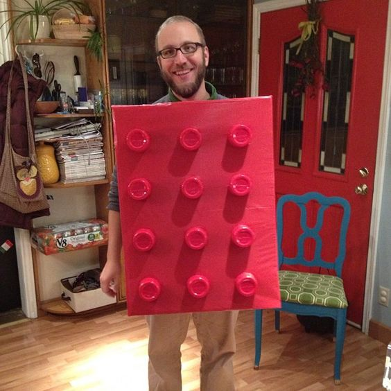 lego halloween costume - red solo cups cut and glued to a cardboard box covered in a plastic red table cloth with some elastic in the back for straps.  super fast and easy.  patrioticandromantic.com/2012/11/kiddoween/