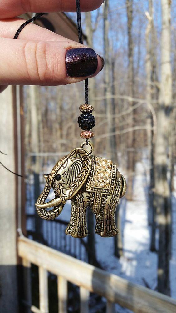 Car Accessory Rear View Mirror Elephant Charm with by tipatmazal