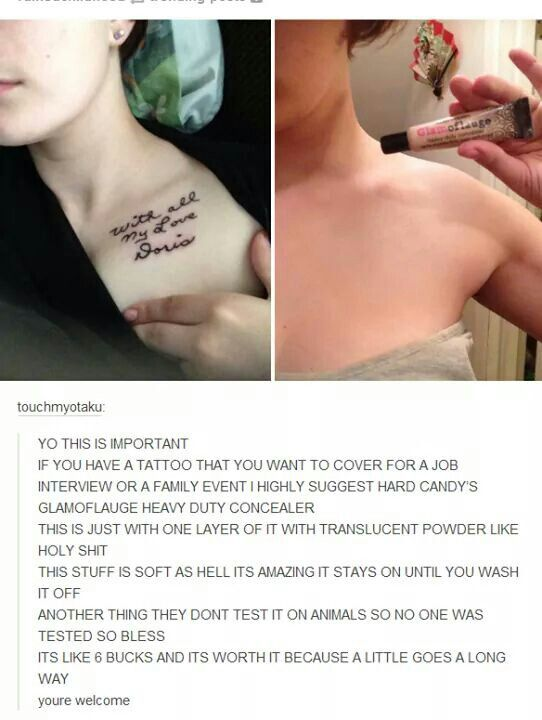 How to hide tatts with good concealer