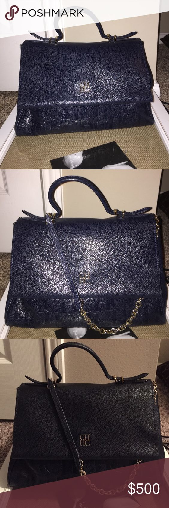 CH Carolina Herrera Tempo handbag. Navy blue with CH tattoo on the front. Purchased 4 months ago used 4 times. ch carolina herrera Bags Shoulder Bags