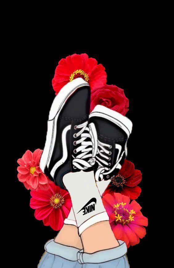 chaussures nike fleur vans jean fleur esthétique noir rose rose ...