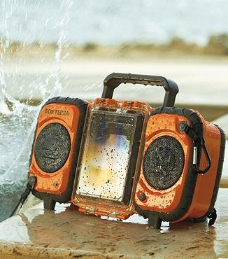 Perfect for poolside, the Eco Terra Water-resistant iPod Speaker not only resists the occasional splash, it's fully submersible and designed to remain fully functional while floating on water.