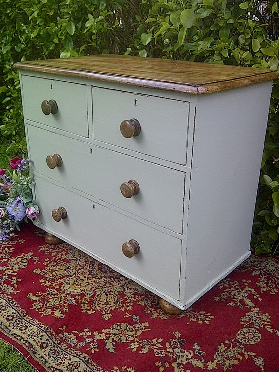 Victorian chest of drawers in Little Greene Normandy Grey