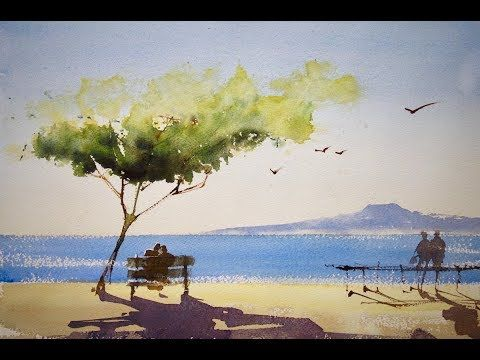 How To Knit A Cable Heart Beach Watercolor Watercolor Landscape