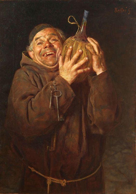 Bellei gaetano modena 1857 1922 monk with bottle of for Painting while drinking wine