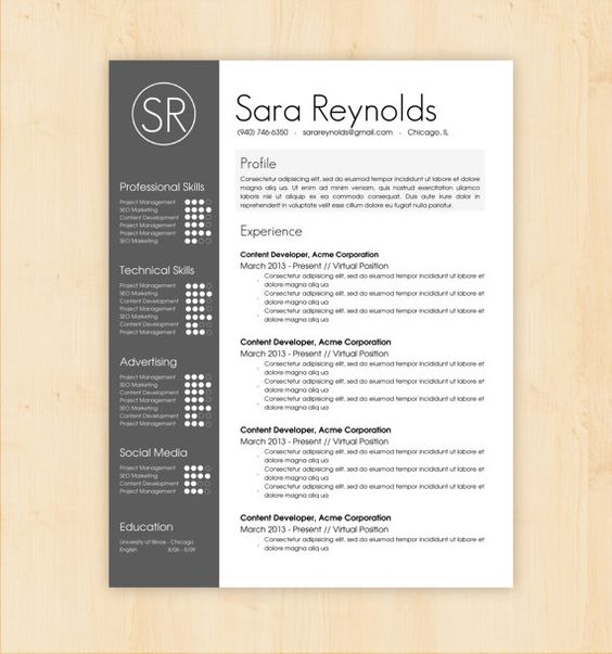 Resume Template & Cover Letter Template - The Sara Reynolds Resume ...