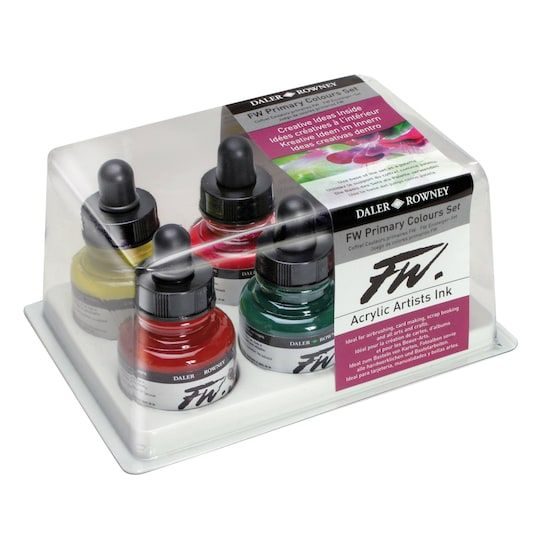 Daler Rowney Fw Acrylic Artists Ink Primary Set Ink Bright
