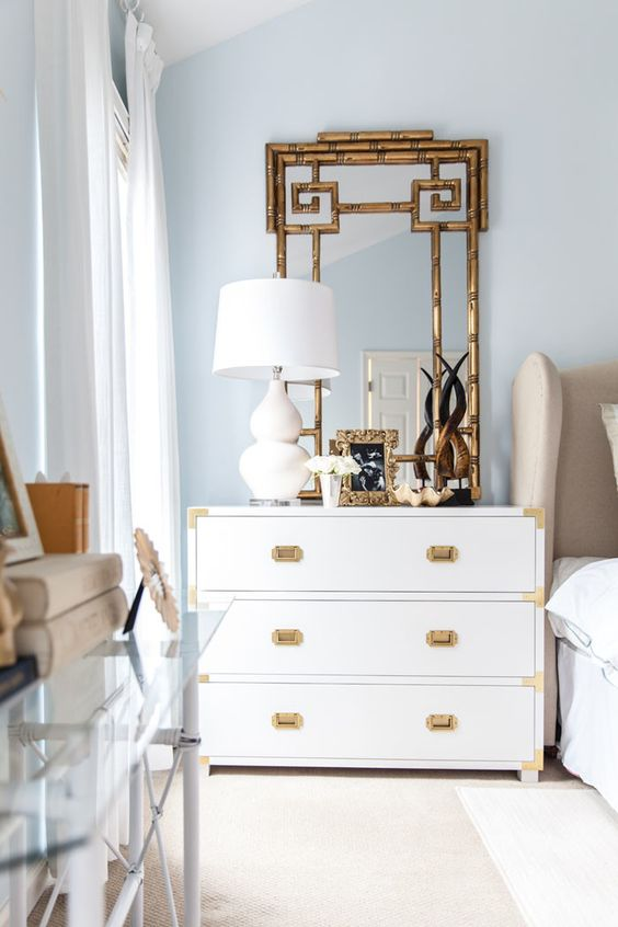 vignette | bedside table | campaign chest | bamboo mirror | gourd lamp | master bedroom www.styleyoursenses.com