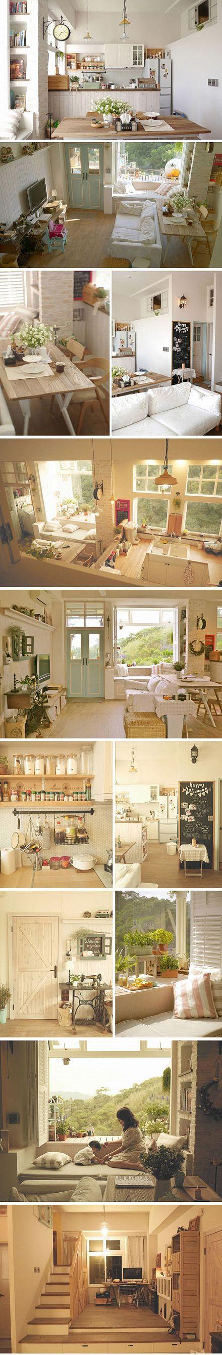 Ristrutturazione Mito open-space soggiorno, sala da pranzo e cucina piene di sole caldo, caldo, rustico www.digu.com