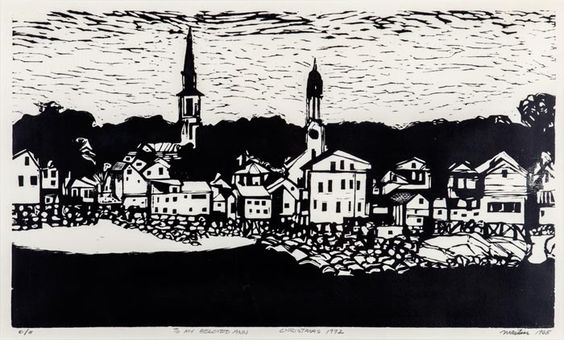 "Going to the Roger Martin Reception Sea Town | 32"" x 23"" (framed), woodcut, 1965"