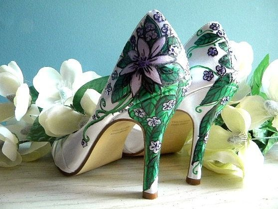Wedding shoes white peep toes lilac flowers Old Italy by norakaren, $225.00
