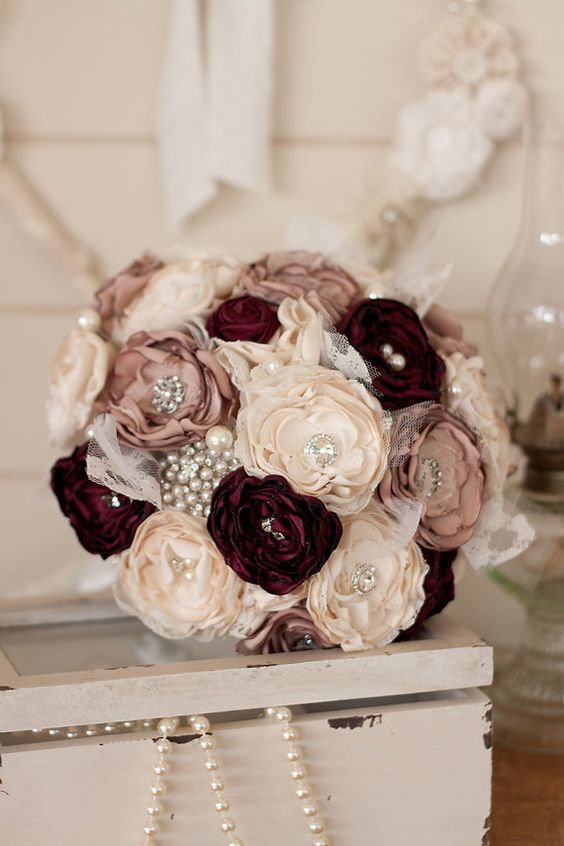 Vintage Inspired Cream, Dusty Pink and Burgundy Satin and Lace Bridal Bouquet: