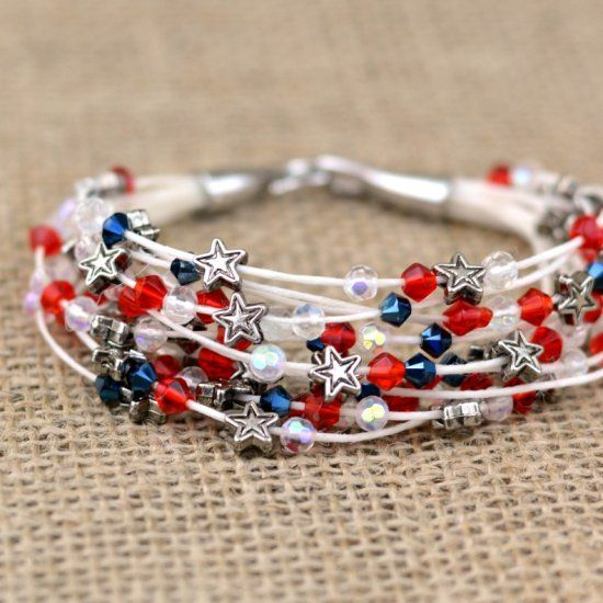 Make this beaded bracelet using waxed linen cord and small beads. Minus the American aspect.: