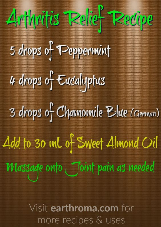 Arthritis Relief Essential Oil Recipe. 5 drops of Peppermint essential oil. 4 drops of Eucalyptus essential oil. 3 drops of Chamomile Blue (German) essential oil. Add to 30 mL (1 ounce) of Sweet Almond Carrier Oil. Massage onto joint pain as needed. Visit https://earthroma.com/pages/essential-oil-uses-recipes  for more recipes.