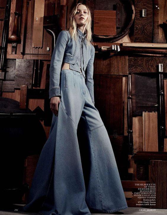 Designer Denim: Sasha Pivovarova wearing Kenzo denim flare pants by Craig McDean for Vogue UK, March 2015