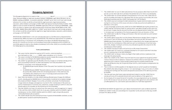 Occupancy Agreement Template Templates Pinterest Template - shareholder agreement