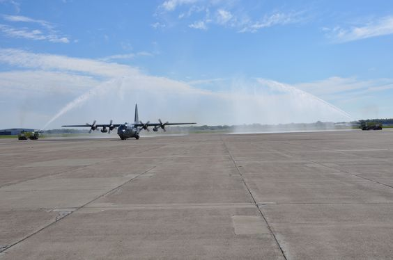 The final C-130 flight of the 107th Airlift Wing taxis on the flight line here, at the Niagara Falls Air Reserve Station, N.Y. September 25, 2014. As a consequence of a more recent force structure announcement, it was decided the 107th would cease flying C-130s, no longer be associated with the Reserve and will transition to their new mission flying Remotely Piloted Aircraft. (U.S. Air Force photo by Staff Sgt. Matthew Burke)