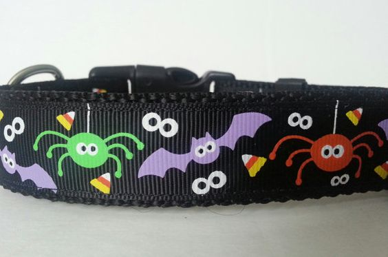 Halloween Adjustable Dog Collar  Spiders Candy by HandmadeByGraceB, $10.00