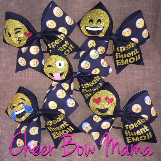 I Speak Fluent Emoji Cheer Bow - pick your favorite emoji!