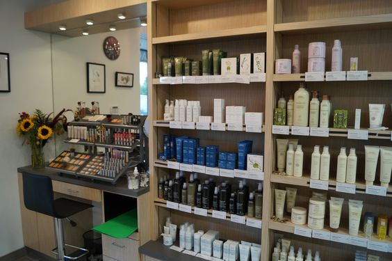 Salon blunt aveda skin care and make up retail area for Adonia beauty salon
