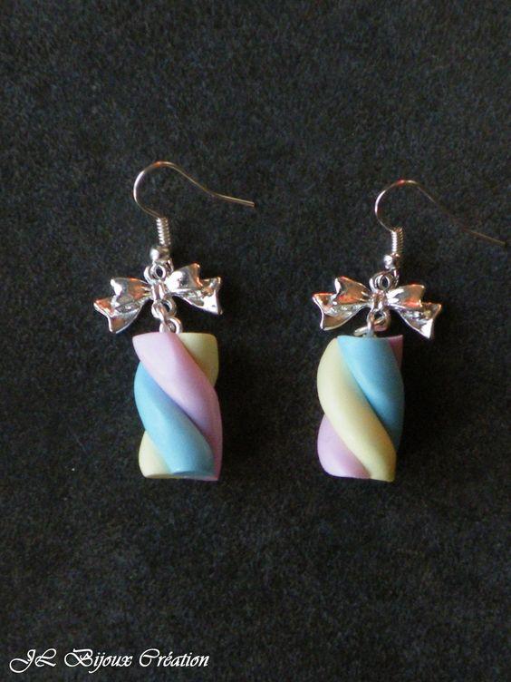 Boucle d'oreille chamallow en fimo Argent 925 : Boucles d'oreille par jl-bijoux-creation