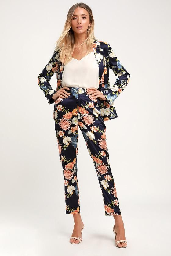 3224f9a047a1 #EnvyWe #Lulus - #Lulus Floral The Way To The Top Navy Blue Floral Print  Satin Trousers - Lulus - EnvyWe.com